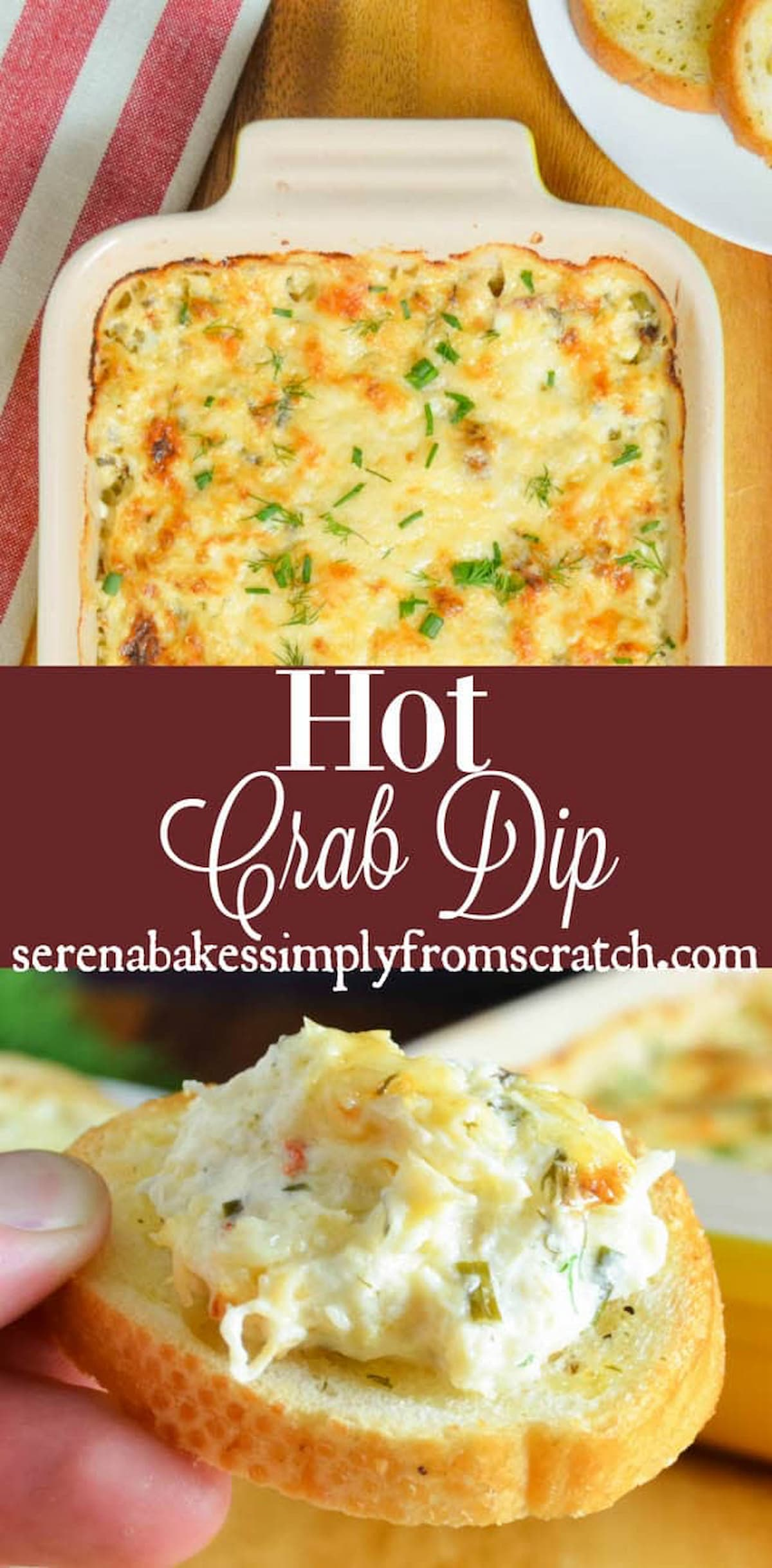 Hot Crab Dip is a favorite party appetizer loaded with lots of Dungeness Crab in a cheesy herb base recipe from Serena Bakes Simply From Scratch.