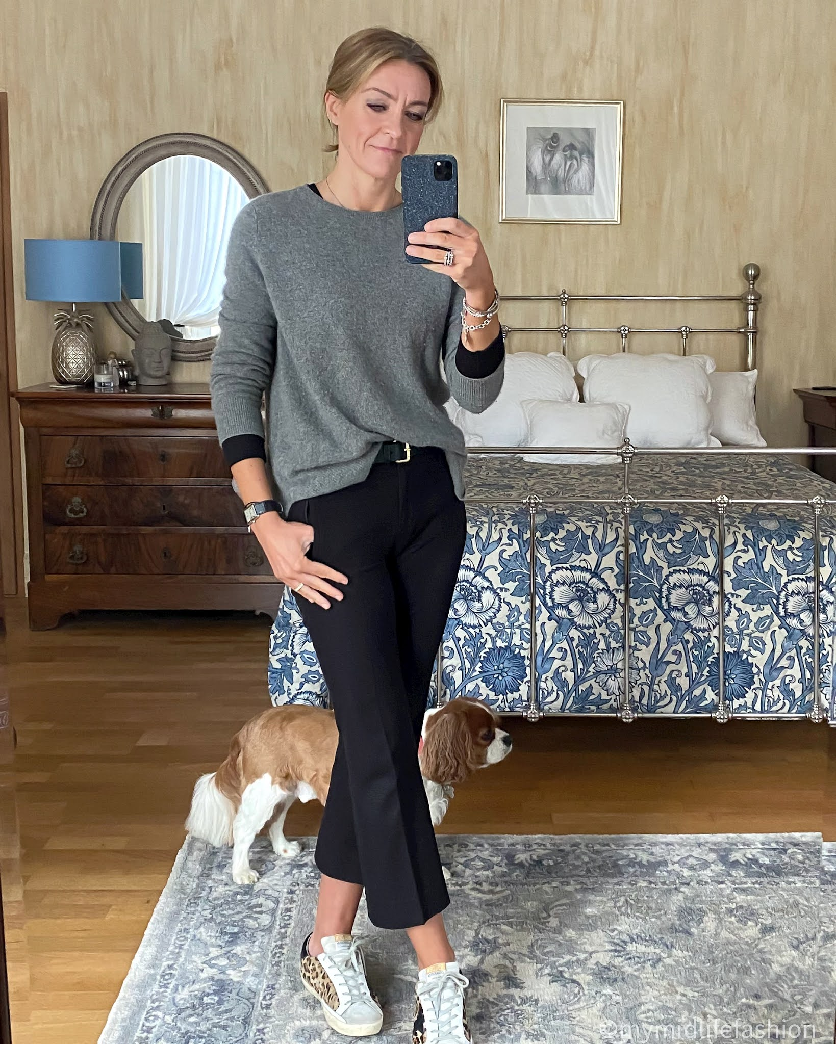 my midlife fashion, zara crew neck cashmere jumper, marks and Spencer Long sleeve t shirt, j crew sammie cropped kick flare  trousers, boden classic buckle belt, golden goose superstar low top leopard print trainers