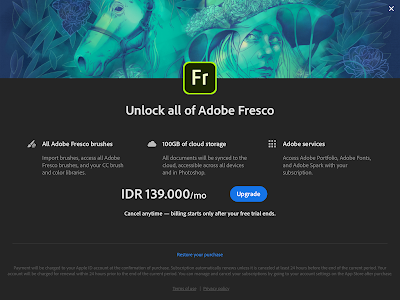 Biaya berlangganan Adobe Fresco