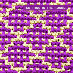 Mosaic Knitting in the round. How to knit the Checker Square Garter stitch. Works best with two strongly contrasting colors.