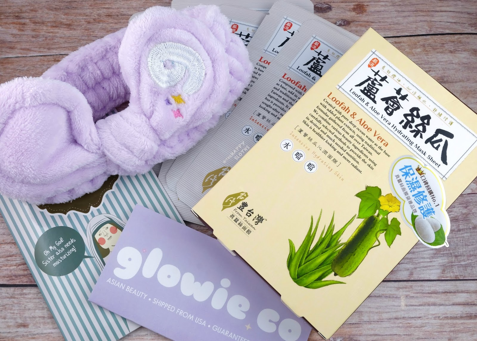 Glowie Co | Bunny Ear Headband & LoveMore Loofah & Aloe Vera Hydrating Sheet Mask