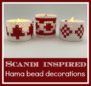 Scandi inspired red and white Hama bead battery candle holders