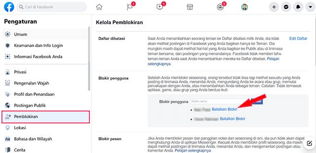 Cara Membuka Blokir di FB Melalui PC