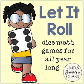 Dice math center games to practice counting, addition, greater than and less than, and number recognition for Kindergarten