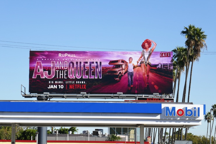 AJ and the Queen RuPaul cut-out billboard
