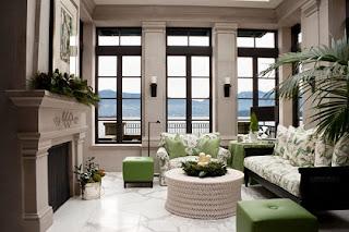 Sala color verde y blanco