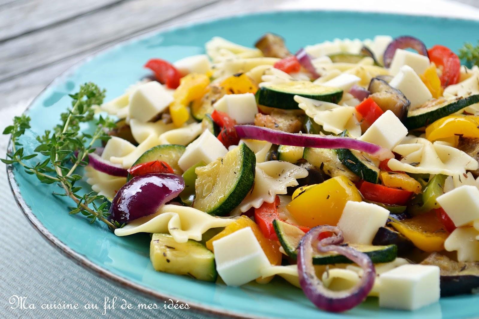 ma cuisine au fil de mes id 233 es salade de p 226 tes farfalle aux l 233 gumes grill 233 s thym et mozzarella