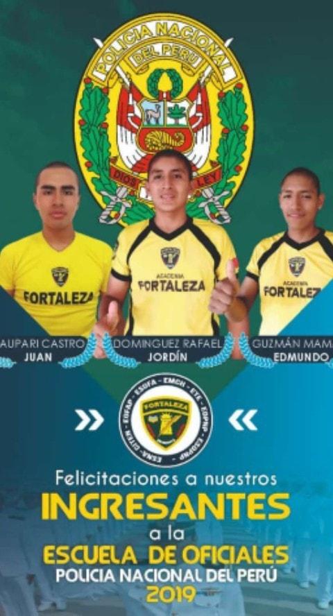 Ingresan tes de Fortaleza a la Escuela de Oficiales de la Policía Nacional del Perú