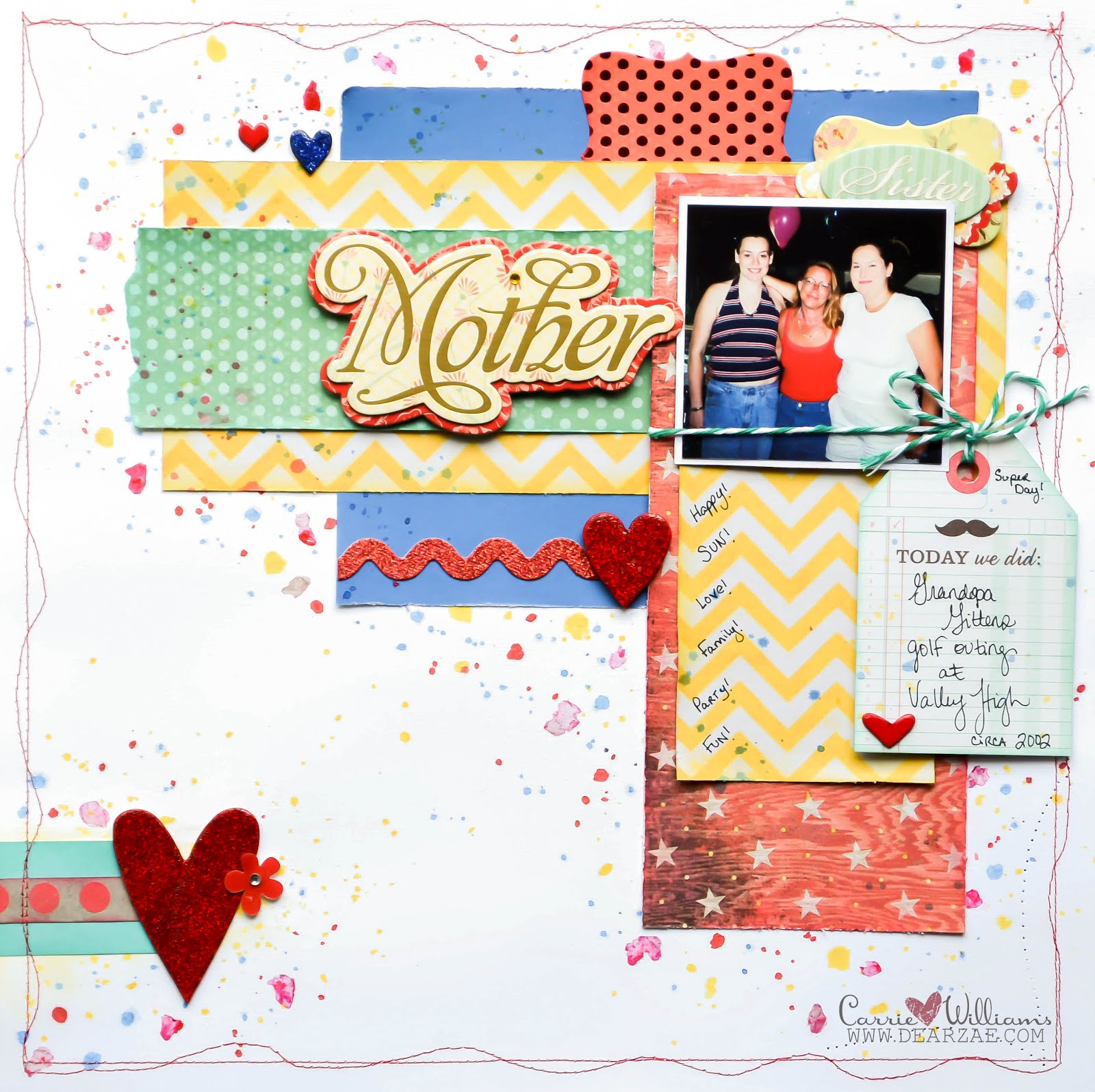 Red, Blue, Teal, and Yellow scrapbook layout on white background with machine stitching, paint splatters, mica flakes, chipboard hearts, rick rack, chevron for CSI case file challenge