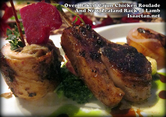 Oven Baked Cajun Chicken Roulade and New Zealand Rack of Lamb