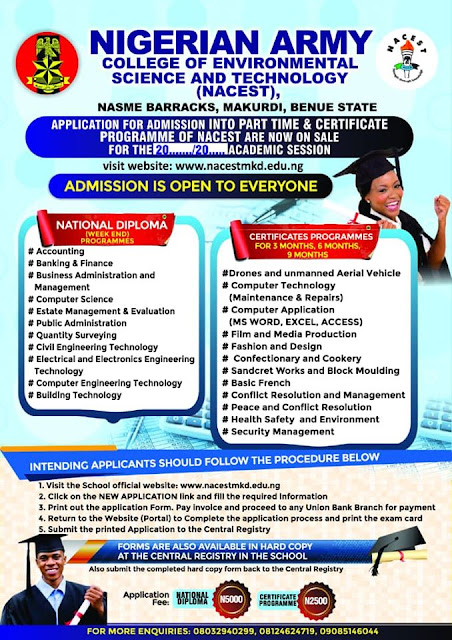 NAITES (NACEST) Part-Time & Certificate Admission Form 2020/2021