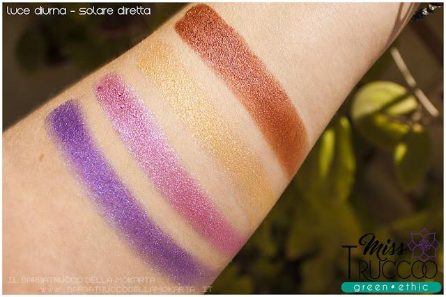 miss trucco eyeshadow palette ombretti terra e acqua mix perfetto viola bronzo swatches