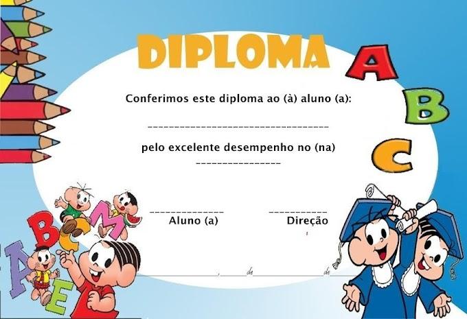 MODELOS DE DIPLOMAS EDUCAÇÃO INFANTIL PARA IMPRIMIR.