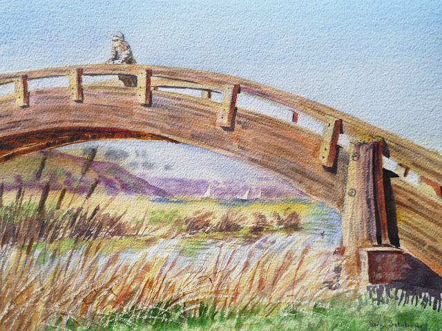 Bridge over Marina in Martinez CA artwork