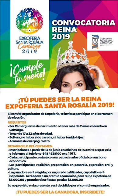 convocatoria reina feria santa rosalía de camargo 2019