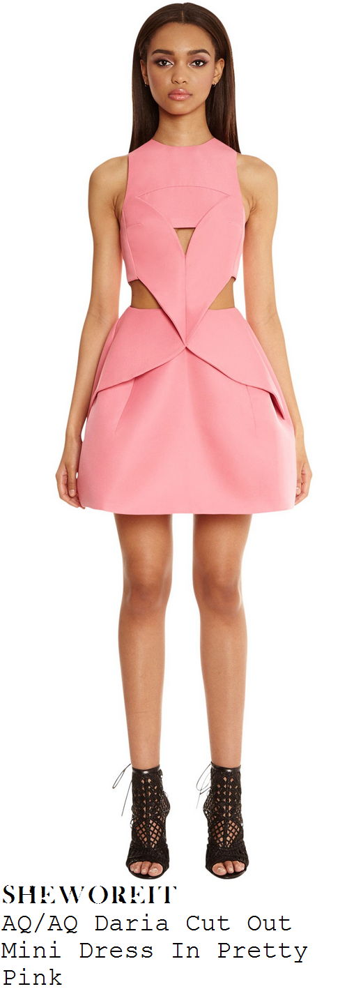 vicky-pattison-pink-sleeveless-cut-out-peplum-fold-mini-dress-mini-v-launch