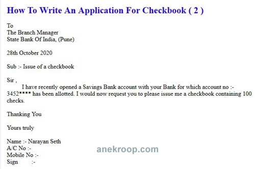 how to write an application for checkbook