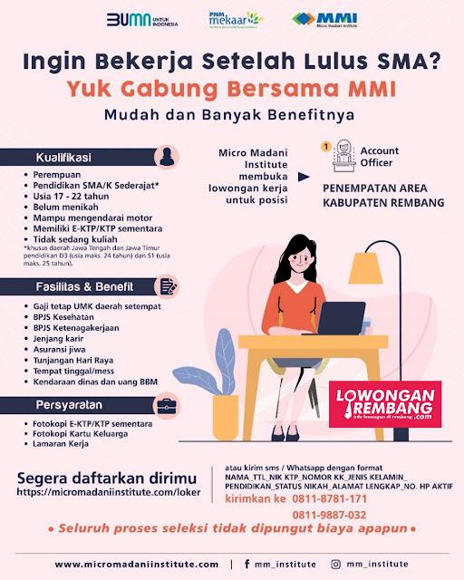 Lowongan Kerja Account Officer BUMN Micro Madani Institute Penempatan Kabupaten Rembang