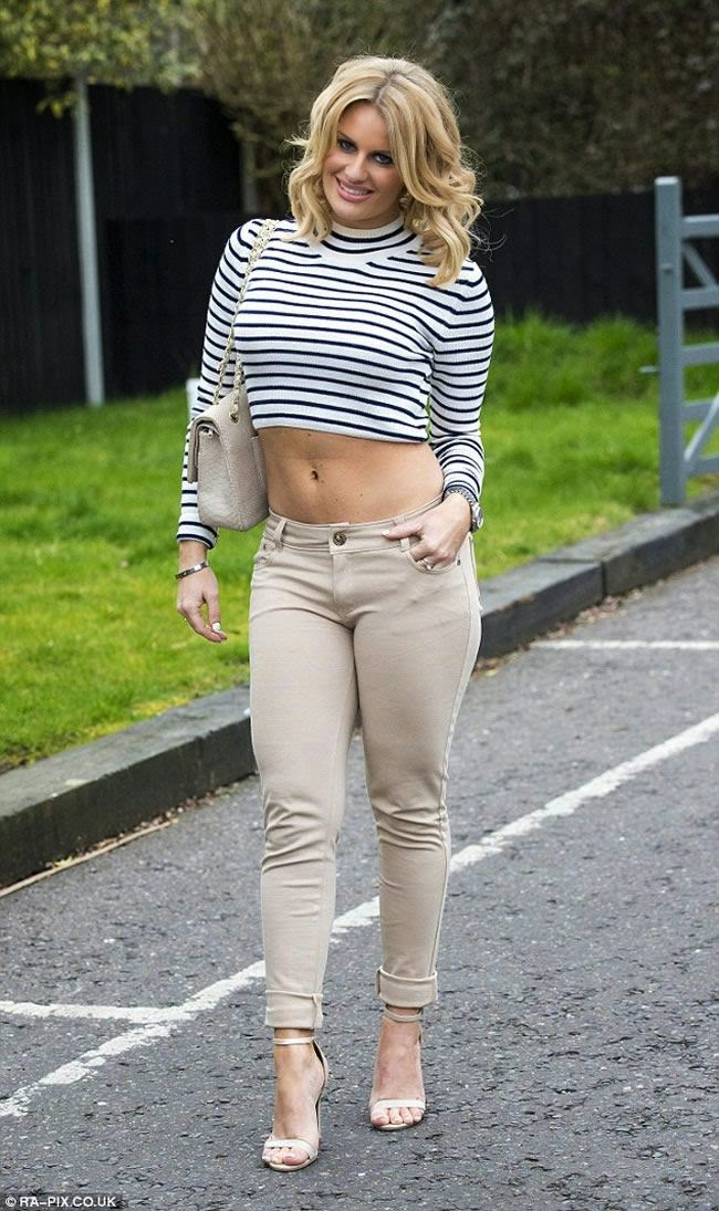 Danielle Armstrong is Abs-Tastic in Tiny Crop Top and Low Jeans