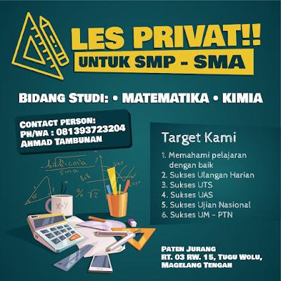 Jasa Les Private SMP SMA Bidang Studi Matematika dan Kimia di Magelang