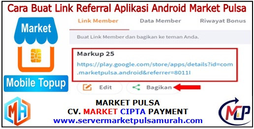 Cara Buat Link Referral Aplikasi Market Pulsa