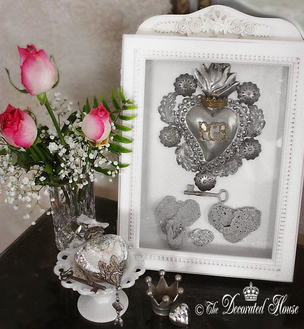 The Decorated House ~ Valentine's Day Decorating - Roses - Mercury Glass - Heart Stones and Ex Voto