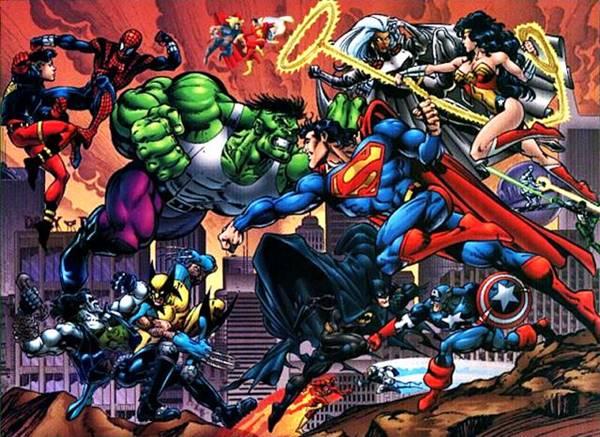 Hulk, Superman, Batman, Capitán América, Spiderman, Spiderboy