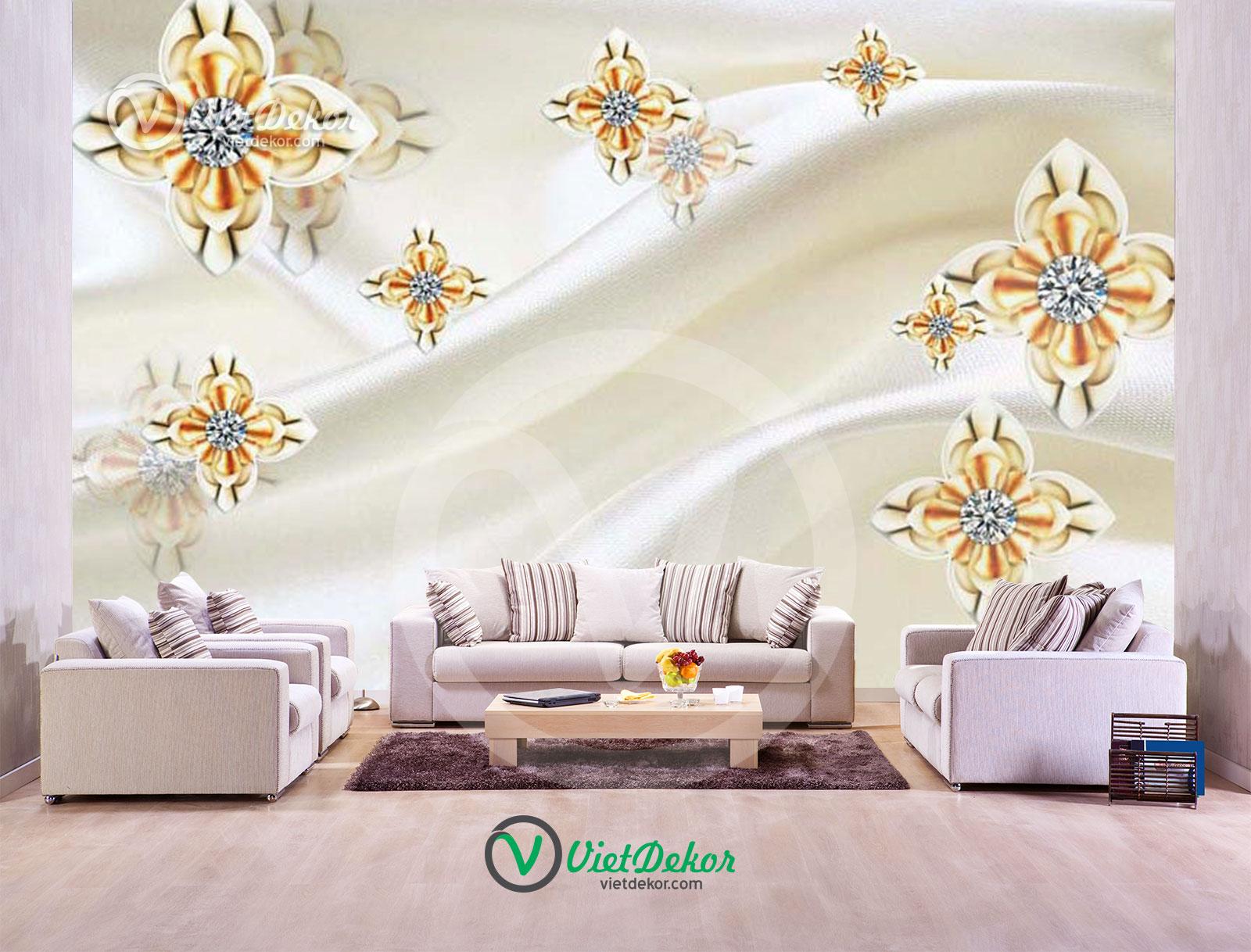 Tranh dán tường 3d hoa trang sức