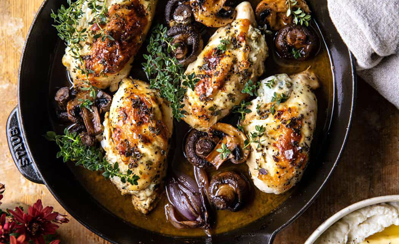 Herbed Ricotta Stuffed Chicken In Cider Pan Sauce with Mashed Cauliflower