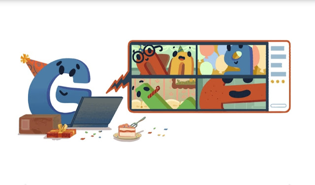 google celebrating 22nd birthday with google doodle today