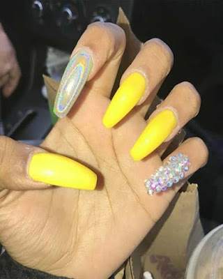 coffin nails desings acrylic summer yellow