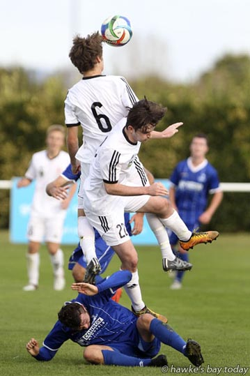 From top: Sam Phillip, Sam Gillespie, Wellington United; Ryan Tinsley, Napier City Rovers. Sam Gillespie and Ryan Tinsley went off injured from this clash - soccer, football at Bluewater Stadium, Park Island, Napier. NCR won 3-0. photograph