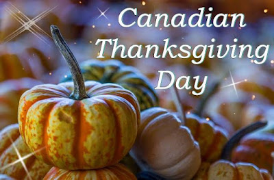 Canadian thanksgiving day written on pumpkin background image.