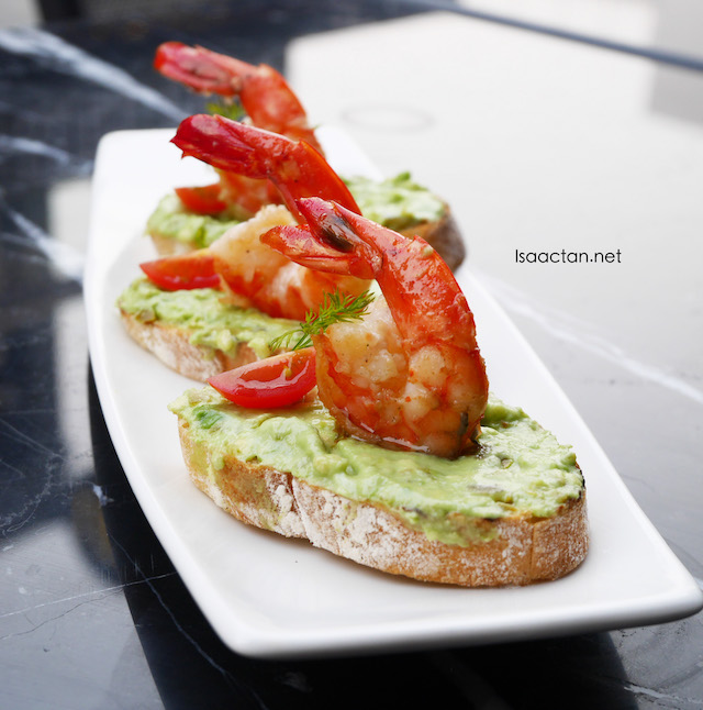Prawn on Spicy Avacado Bruschetta with Cillantro - RM23