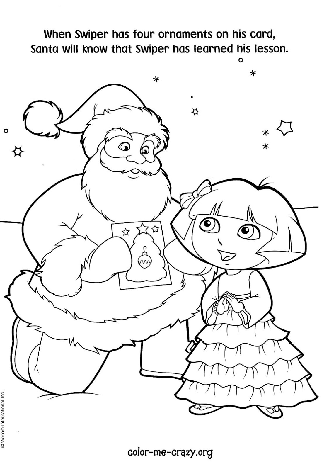 ColorMeCrazy.org: Dora the Explorer - Christmas is Coming