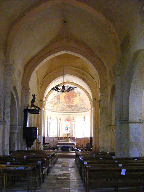 Interior of the church of Saint Maurice la Clouere, Vienne. France. Photographed by Susan Walter. Tour the Loire Valley with a classic car and a private guide.