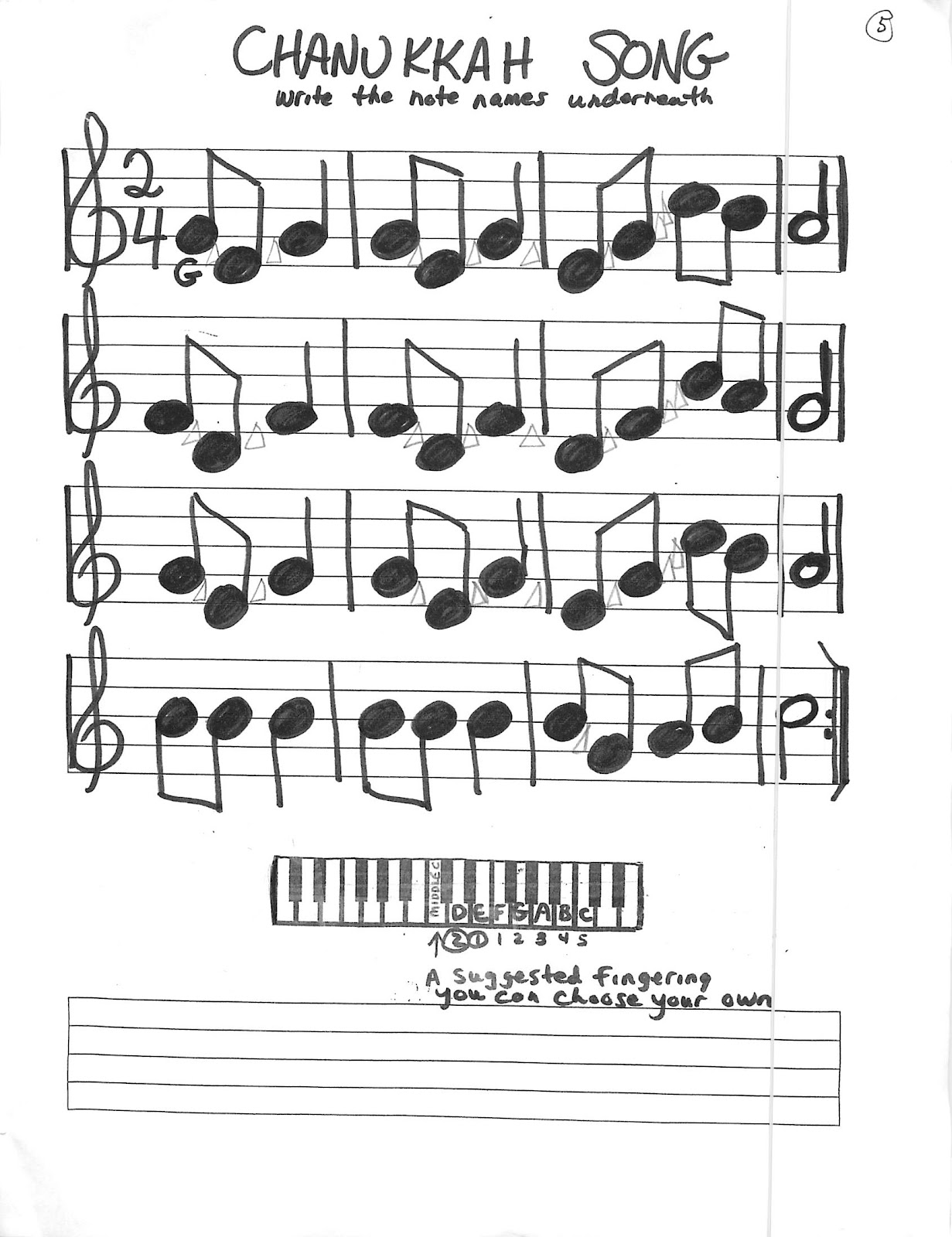 Miss Jacobson S Music Holiday Recorder Keyboard Songs Worksheets