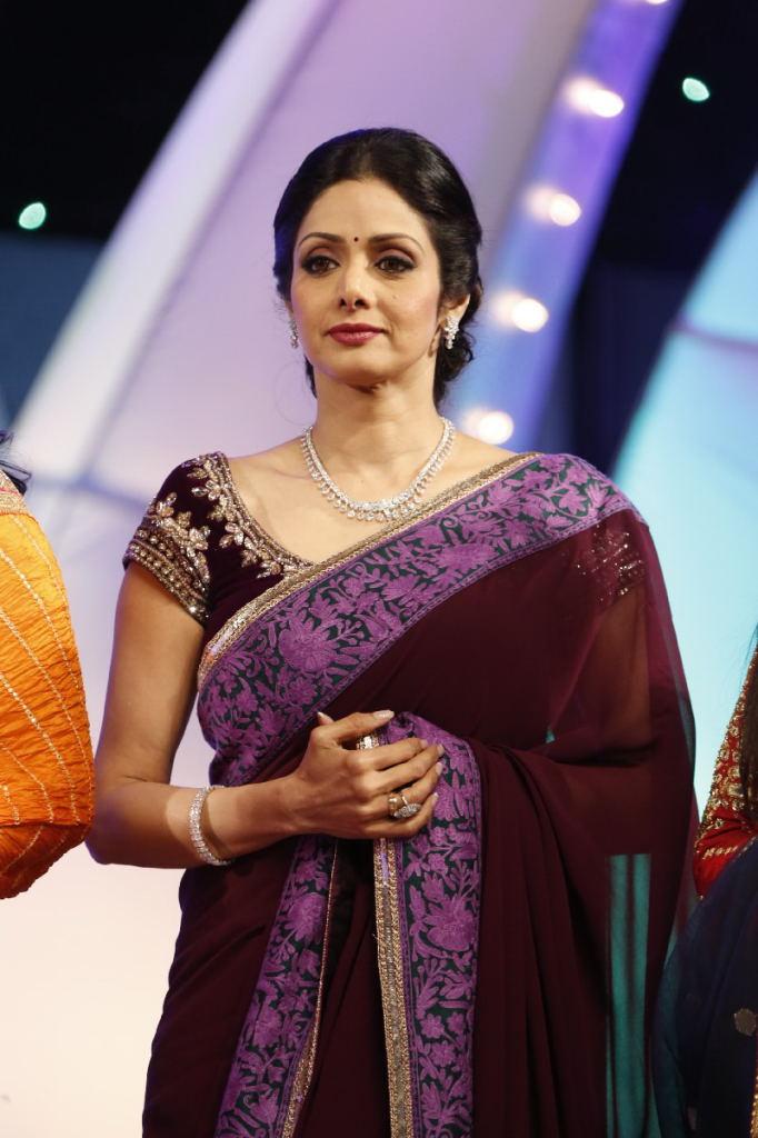 SriDevi Latest Stills In Maroon Saree