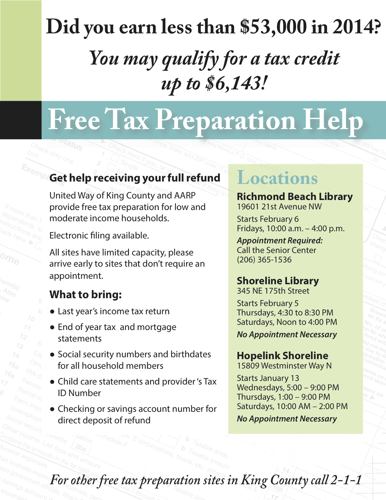 Shoreline Area News Free Tax Prep Help For Those Who Earned Less Than 53 000 In