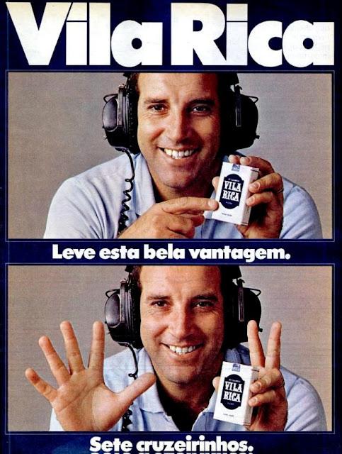 Propaganda dos Cigarros Vila Rica nos anos 70, com o jogador de futebol Gerson.