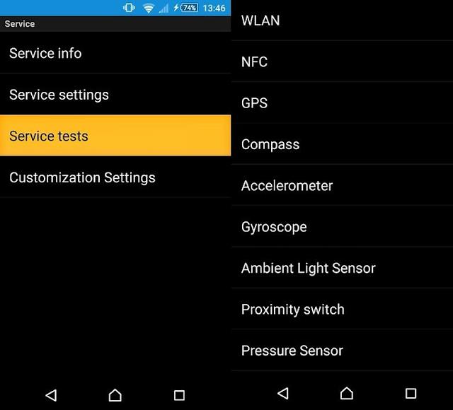 menu pada Sony Xperia Z2