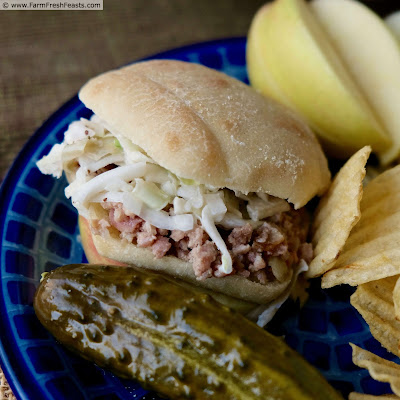photo of Instant Pot® pickled pork slider, topped with coleslaw, served with potato chips and a pickle.