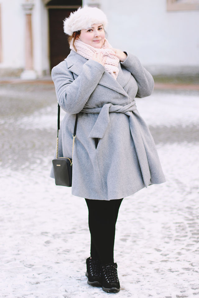 Plus size grey skater coat