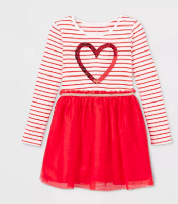 Girls Heart Tulle Dress