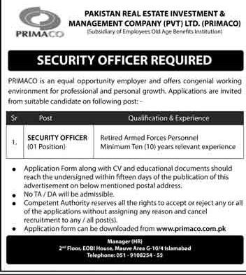 www.primaco.com.pk Jobs 2021 - Pakistan Real Estate Investment & Management Company (PRIMACO) Jobs 2021 in Pakistan