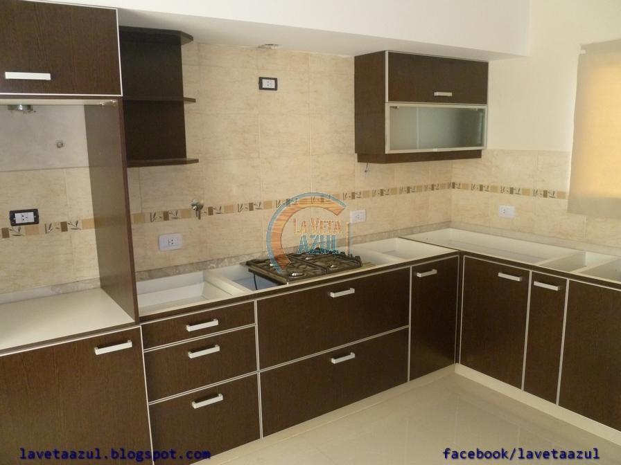 La veta azul mueble cocina en melamina wengue con cantos en aluminio - Muebles de cocina color wengue ...