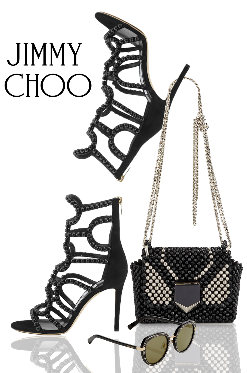 Jimmy Choo LEJA 100 and Lockett Petite Black Beaded Embroidery Shoulder Bag