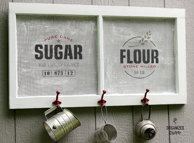 Window Screen Stenciled Farmhouse Kitchen Decor