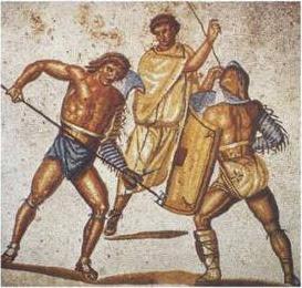 Гладіатори на мозаїці на римській вілі у селі Ненніг (Німеччина)