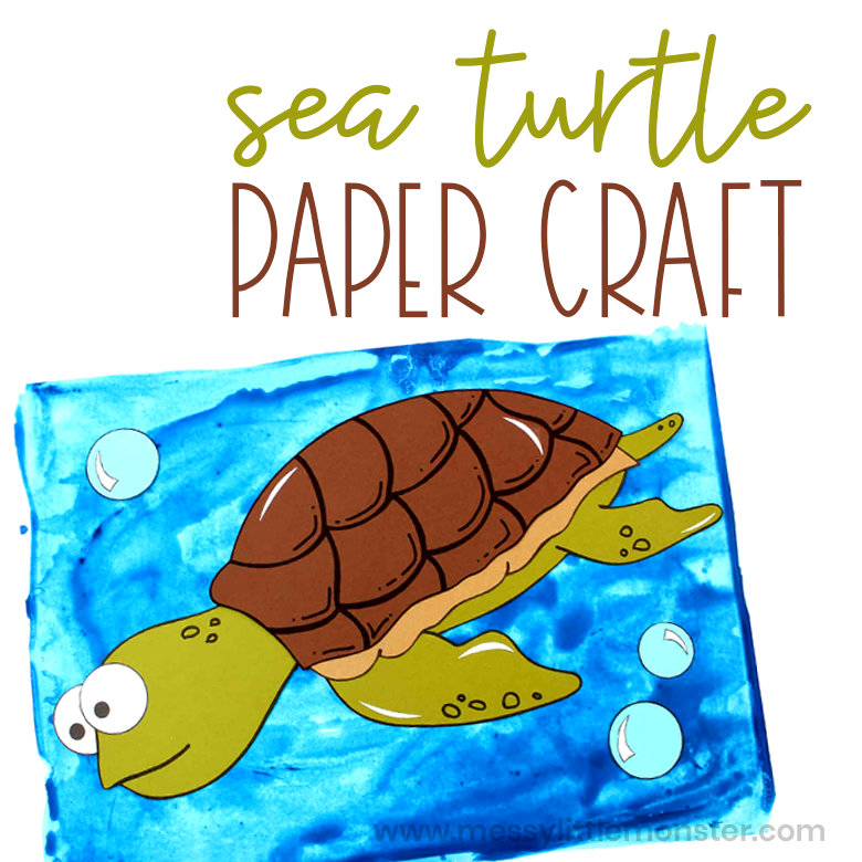 Sea turtle paper craft for kids with printable turtle template.